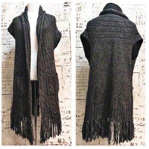 Cabi Fringe Vest Cable Knit Wool Blend Gray